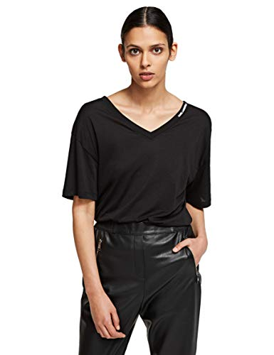 KARL LAGERFELD Womens Double V Neck T-Shirt, Black, S