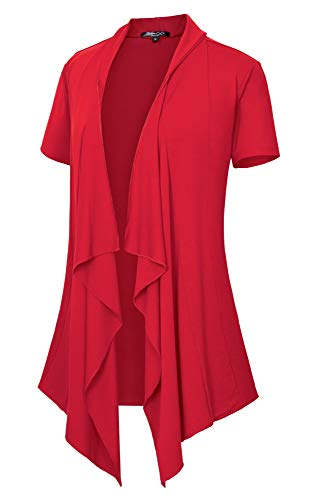 Women's Short Sleeve Draped Open Front Cardigan Vest Asymmetric Hem (XL, Red)