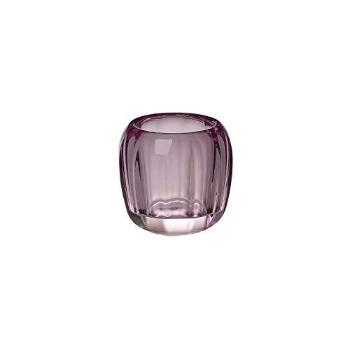 Villeroy & Boch - Teelicht Noble Rose, dekoratives Windlicht für Innen und Außen, Kristall Glas, klar/pink, Handreinigung, 1173010842, 7.70 x 7.70 x 8.50 cm