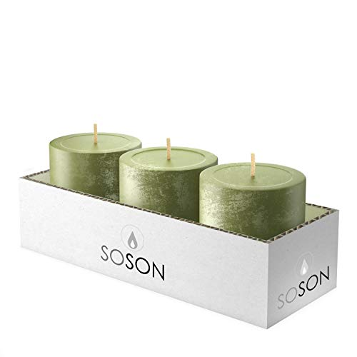 Simply Soson 3x3 Inch Dark Moss Green Textured Bulk Set Unscented Pillar Candles, Drip-less, Smokeless, Long and Slow Burning Candle Sticks. Perfect for wedding, Party and Home Decoration (Pack of 3).