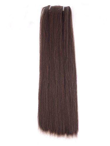 Extensions Raides et Soyeuses de 45cm de Longueur en Mélange de Cheveux Humains & Fibre Synthétique