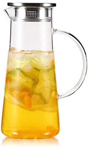 Tetera de cristal La jarra jarro de agua Tetera de cristal con la tapa de la manija helado borosilicato resistente al calor jarra de cristal de té caliente / fría agua / hielo Vino café leche y zumo 1