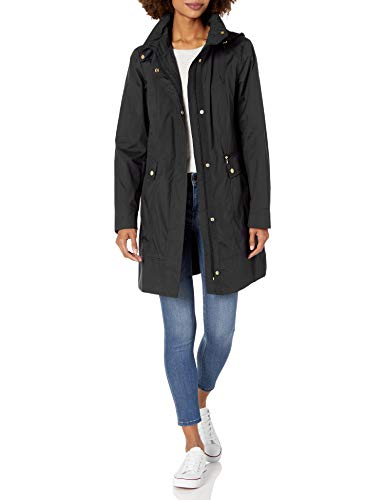 Cole Haan Women's Single Breasted Packable Rain Jacket with Removable Hood, black, X-Large