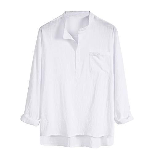 TUDUZ Camisetas Hombre Manga Larga 3/4 Color Sólido Camisas Algodon Y Lino Tops Botón Ropa De Cuello Alto(O Blanco,M)