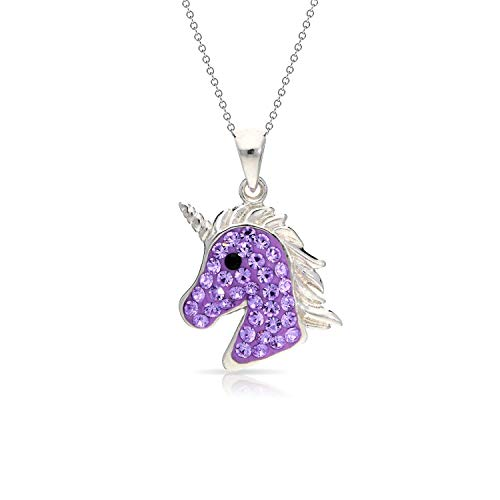 Mythical Purple Crystal Unicorn Pendant Necklace Never Rust 925 Sterling Silver Natural and Hypoallergenic Chain For Women, Girls & Kids with Free Breathtaking Gift Box for a Special Moment of Love