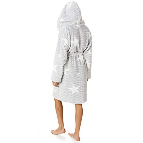 Light & Shade Damen Coral Supersoft Fleece Dressing Gown Bath Robe Bademantel, Kapuzenstern, Blau, Small-Medium