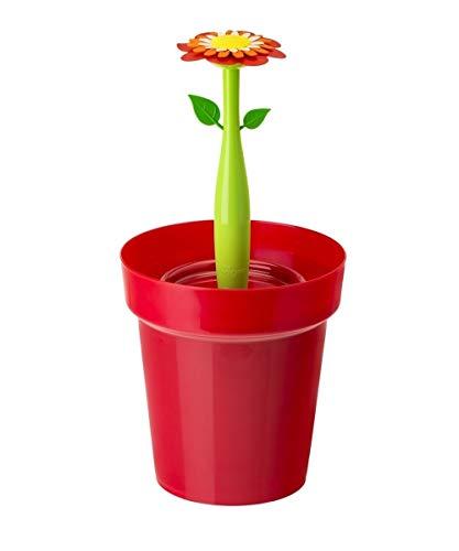 VIGAR Flower Power Papelera para Baño, Material: Polipropileno, Goma, Asa: Acero, Rojo, 21 X 20.5 X 26.5 cm