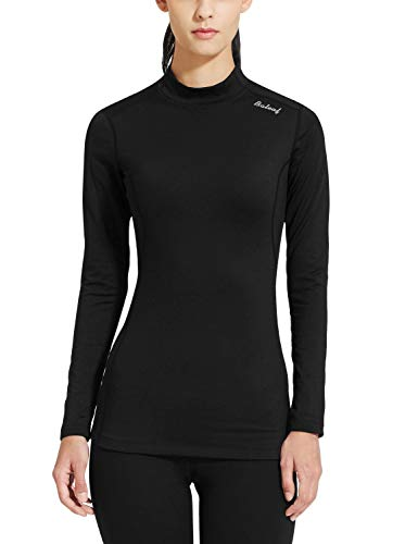 BALEAF Women's Fleece Thermal Mock Neck Long Sleeve Running Shirt Workout Tops Black Size L