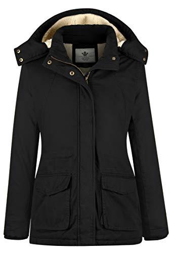WenVen Women's Casual Warm Slim Fit Sherpa Lined Winter Coat(Black,Medium)