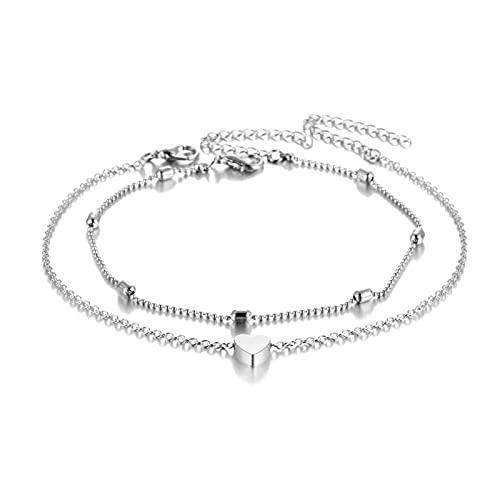LPZW 2021 Concha Colgante Tobilleras para Mujeres Vintage Piedra Beads Tobetle Set Bohemian Pulsera Tobillo en la Pierna Verano Beach Toblet Ocean Jewelry (Metal Color : Silver)