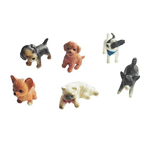 Toyvian 6 stücke Mini cat Dekorationen Hund Figuren Tiere Miniatur pet Spielzeug Ornamente