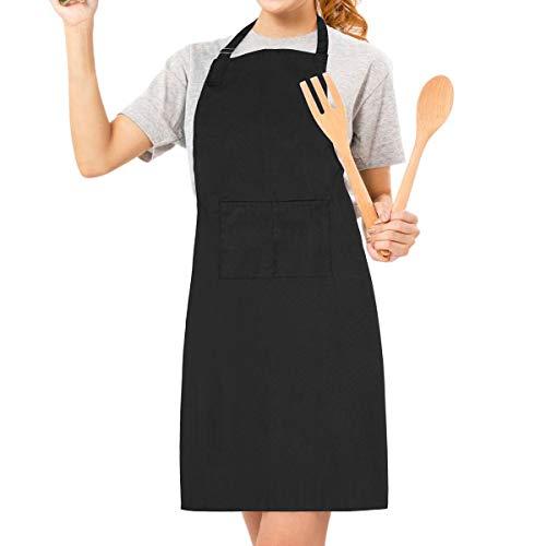 LEBEXY Küchenschürze - Grillschürze - Baumwolle schwarz