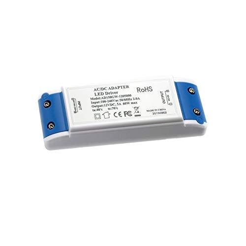 LED Trafo LED Transformator 1-60W 12V 5A LED Treiber Netzteil, keine Mindestbelastung, kein LED-Flimmern, kein Transformator-Rauschen Für MR11 G4 MR16 GU5.3 LED Birnen Lichtstreifen