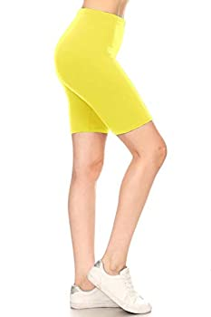 Leggings Depot LBKX128-YELLOW-3X High Waist Solid Biker Shorts 3X Plus