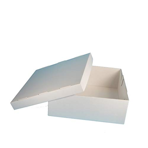 50 Tortenkartons Kuchenkartons Konditorkartons Tortenschachteln weiß 2-geteilt Wellkarton extrastark 32x32x12cm