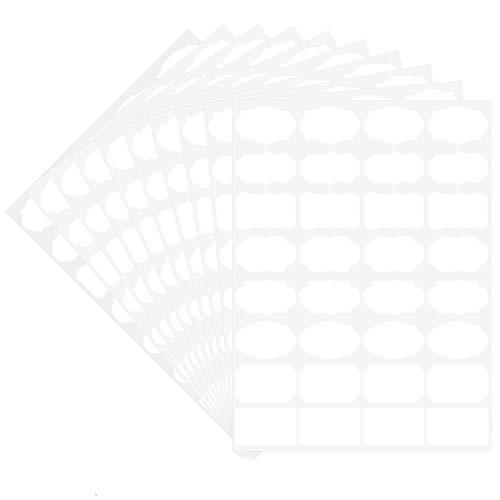 食品保存ラベル Wisdompro 冷蔵用ステッカー アート紙 空白 手書き 印刷可能 剥がせる メイソンジャー/ガラス/カップ/ボトルに対応 32枚x10シート 320枚入り ホワイト