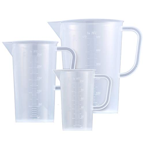 Young4us 3 Pack Tall Form Pitcher Set, 500ml 250ml 100ml Polypropylene PP Plastic Beakers, Graduated Scales, Balanced Handle, Spout