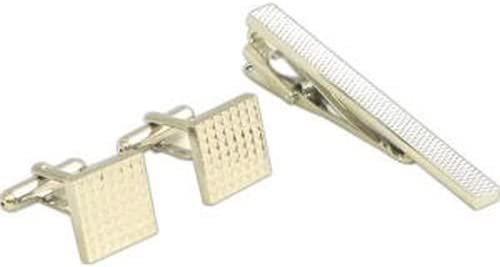 Rhodium Plated Cufflinks & Tie Pin Set w/