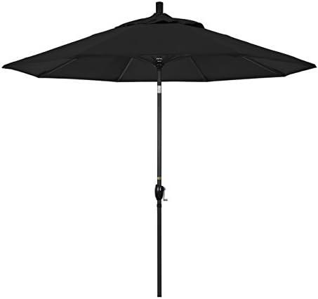 California Umbrella GSPT908302 5408 9 Round Aluminum Market Crank Lift Push Button Tilt Black product image