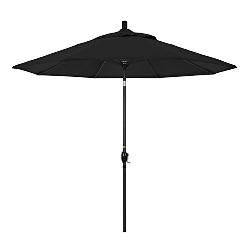 California Umbrella GSPT908302-5408 9' Round Aluminum Market, Crank Lift, Push Button Tilt, Black Pole, Sunbrella Patio Umbrella, 9-Feet