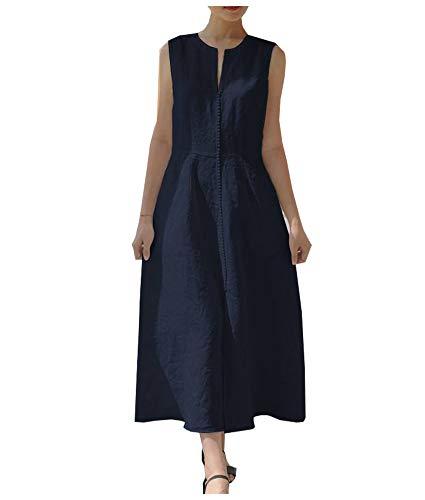 COFEEL 亚麻无袖修身连衣裙 看上去很有气质
