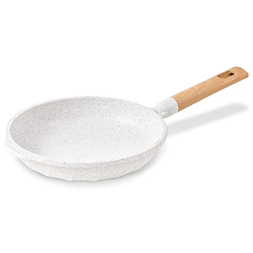 Nonstick Frying Pan 100% PFOA Free Cookware Induction Skillet Fry Pan 9.5 Inch - White