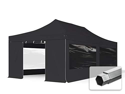 TOOLPORT ALU Pavillon Faltpavillon 4x8m mit Panoramafenstern robust und wasserdicht Professional 55mm Partyzelt schwarz feuersicher