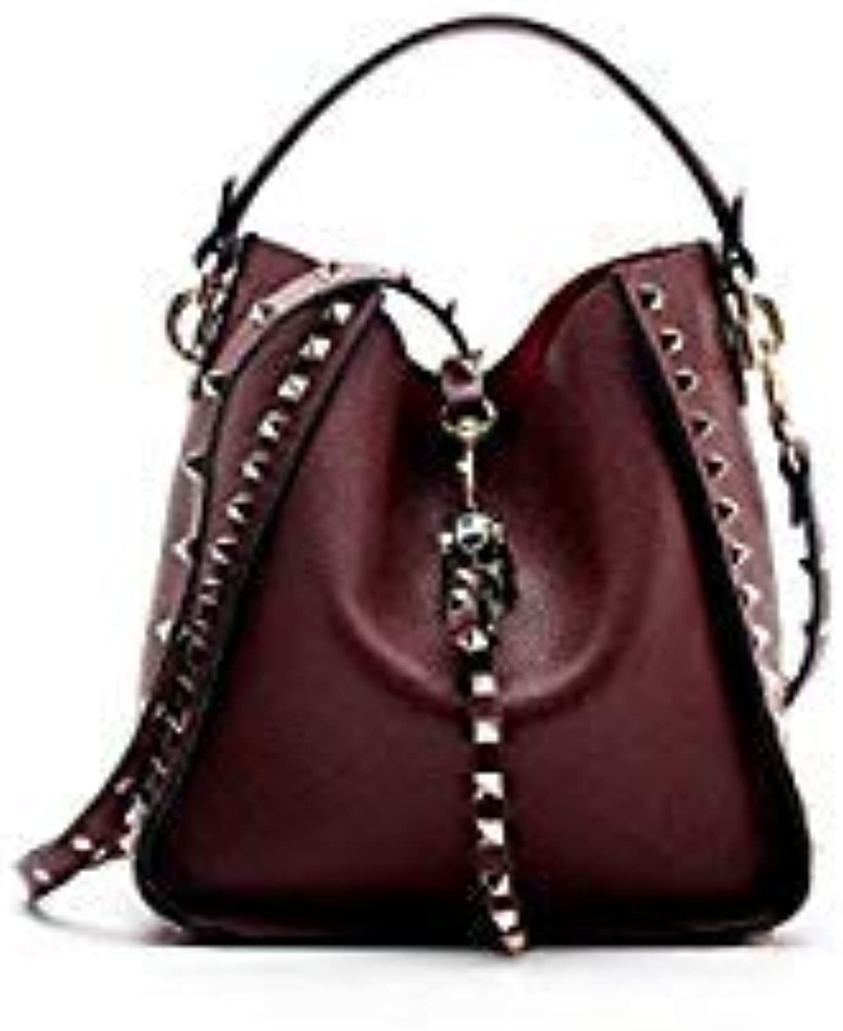 Bloomerang New Designer Classic Tote Small Bucket with Studs Women Split Leather Handbags Ladies Messenger Bags for Female an886 color Wine red