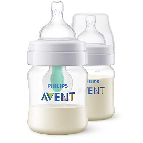 Philips Avent Anti-colic Flasche mit AirFree Ventil SCF810/24, 125ml, 2er-Pack, transparent