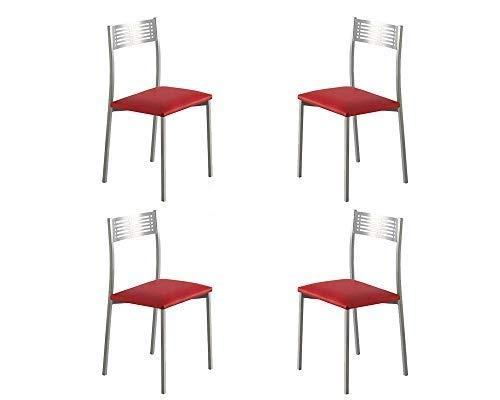 MOMMA HOME Set 4 Sillas - Modelo Sydney - Color Plata/Rojo - Material Metal/Ecopiel - Medidas 41 x 47 x 86 cm