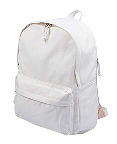Jesdo DIY Canvas Backpack Students Large Casual Daypack Satchel (White)