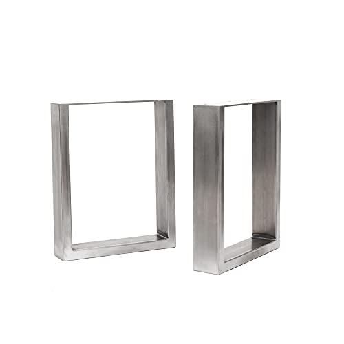 [HLC] 2 x patas industriales de mesa cuadradas: acero acondicionado de superficie, soldadura TIG con tornillos GRATUITOS, guía de construcción y protectores de suelo [Banco, Acero sin procesar]
