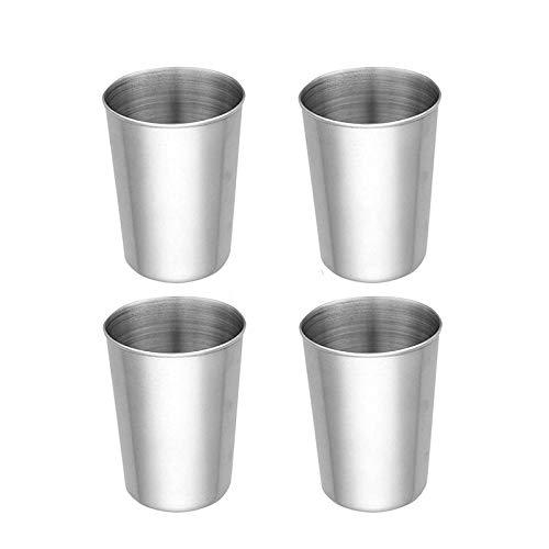 4Teiliges350ml Edelstahl-Becher Set, Unzerbrechliche Schnaps-Becher, Schnaps-Gläser aus Metall, für Camping Party Haushalt Reisen Bar