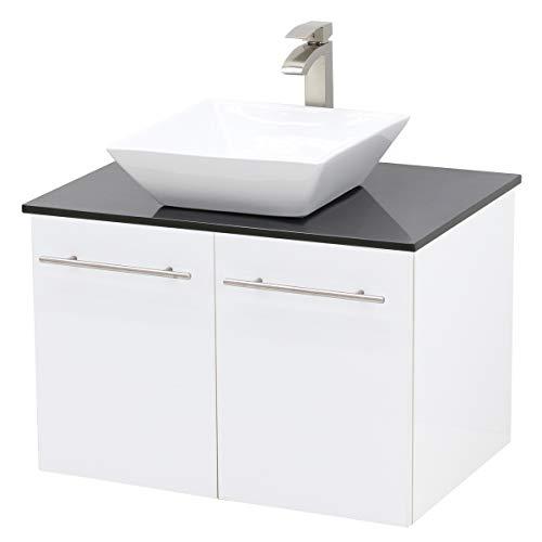 WindBay Wall Mount Floating Bathroom Vanity Sink Set, White Embossed Texture Vanity, -