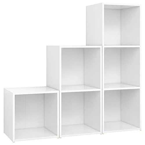 vidaXL Juego de Mueble para TV de 3 Piezas aglomerado Blanco