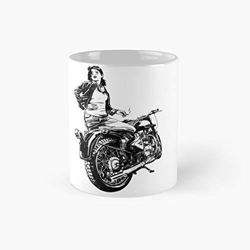 Smoking Girl With Motor Scooter Gift Classic Mug - 11 Ounce For Coffee, Tea, Chocolate Or Latte.
