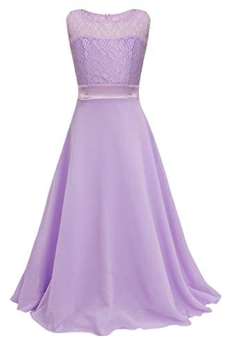 IEFIEL Vestido Largo de Fiesta para Niña Vestido Elegante de Dama de Honor Vestido Princesa Sin Manga de Boda Ceremonia Morado Claro 14 años