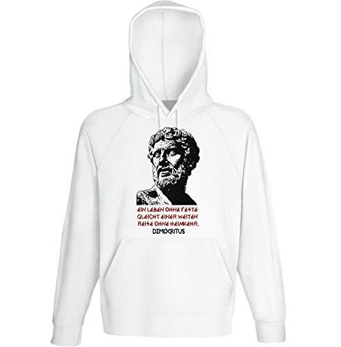 teesquare1st Men's Democritus EIN Leben Zitate White Hoodie Size Large