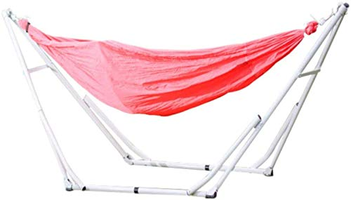 KAIGE Cotton Hammock With Sturdy Steel Frame,Patio Yard Beach Outdoor Double Hammock,with Space Saving Steel Stand,Red WKY