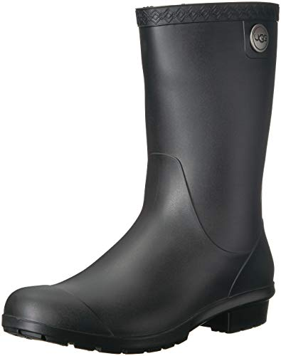 UGG Women's Sienna Matte Rain Boot, Black, 9 M US
