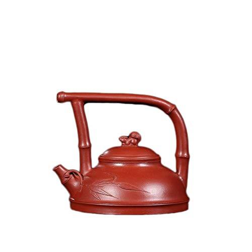 CRTTRC Tetera De Yixing del Mineral Rojo Grande De La Ardilla De La Tetera De Bambú Portátil Esta Música Ti Liang Pot Tetera Arena Pot (Color : Big Red Pouch)