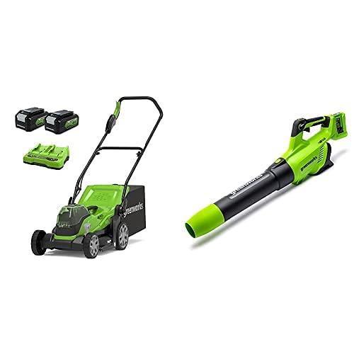 Greenworks Tools Cortacésped 2512507UD, 48 V, 2 x batería 4 Ah + Soplador Axial a Batería GD24X2AB, Soplador axial de Iones de Litio 2 x 24V 217 km/h con Control electrónico de Velocidad