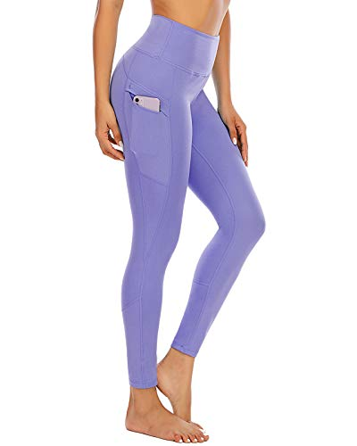 Purple Yoga Pants for Women High Waisted Workout Joggers Spandex Leggings with Pockets Gym Wear Lavender L