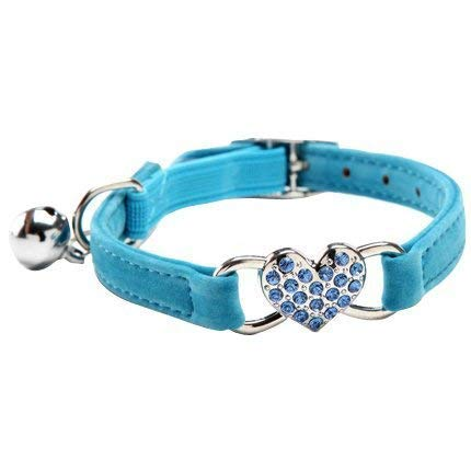 DAIXI Collares para Gatos con la Campana y del Cristal del corazón Suministros Linda del Animal doméstico Azul