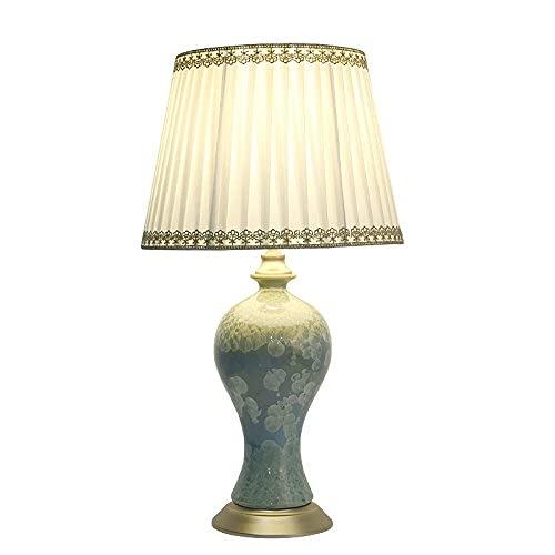 Lámpara de escritorio de cerámica retro Kristalline para dormitorio, mesita de noche, salón, estudio, iluminación E27, 35 x 61 cm (color: 35 x 61 cm)