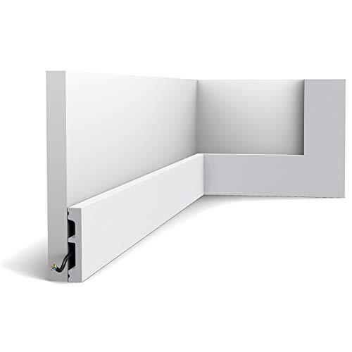 Zócalo Orac Decor SX157-RAL9003 AXXENT SQUARE Zócalo Multifuncional Moldura decorativa prepintada diseño moderno blanco señales 2 m