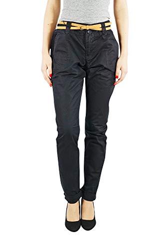VERO MODA vmboline Damen Chino | Business Casual Cargo-Shorts Sommer-Hose | Blau Schwarz mit Gürtel aus Baumwolle, Farbe:Schwarz, Schrittlänge:L34, Hosengröße:S