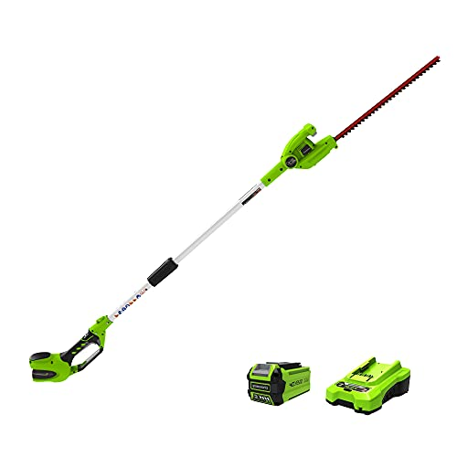Greenworks 40V 20 inch Cordless Pole Hedge Trimmer 2.0 AH Battery Included, PH40B210