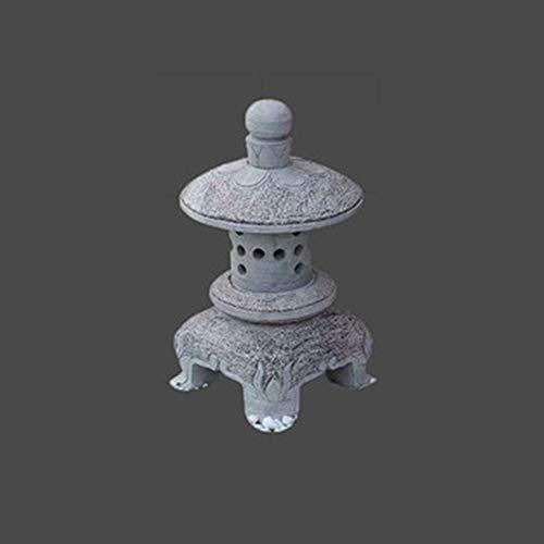 RPLW Energía Solar Luces Al Aire Libre,Al Aire Libre Energía Solar Estatua De La Figura,Decoración De Arte De Patio,Japonés Jardín Lámpara De Piedra Estatua-H 40cm