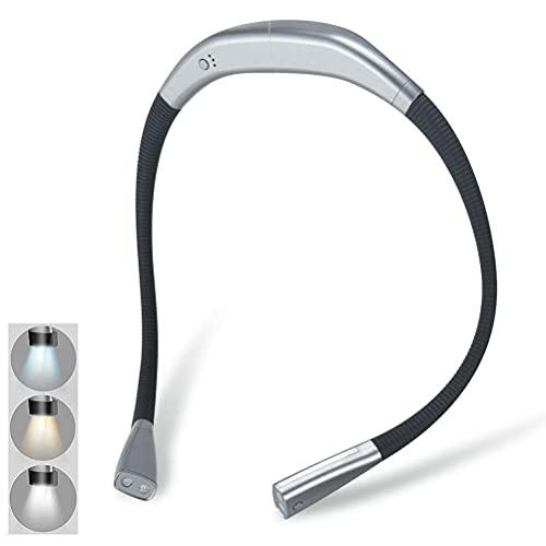 Auplew Lámpara de lectura LED, recargable, 4 ledes, para leer, tejer, camping, reparar, correr, protección ocular, exterior